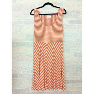 Calvin Klein Orange Gray Stripe Tank Dress Size 12